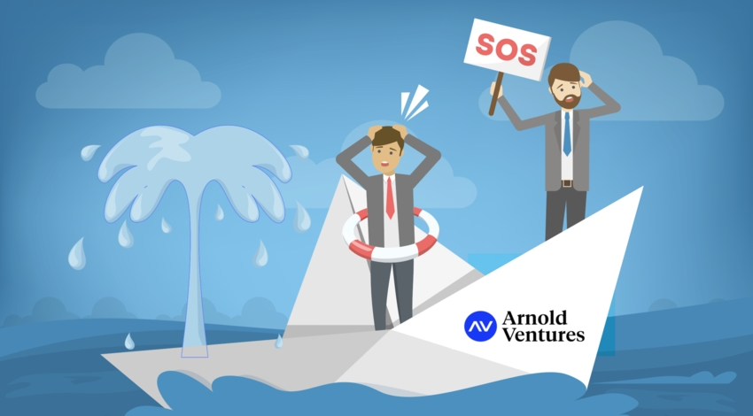 Animation of Arnold Ventures founders holding S.O.S. sign on a sinking ship