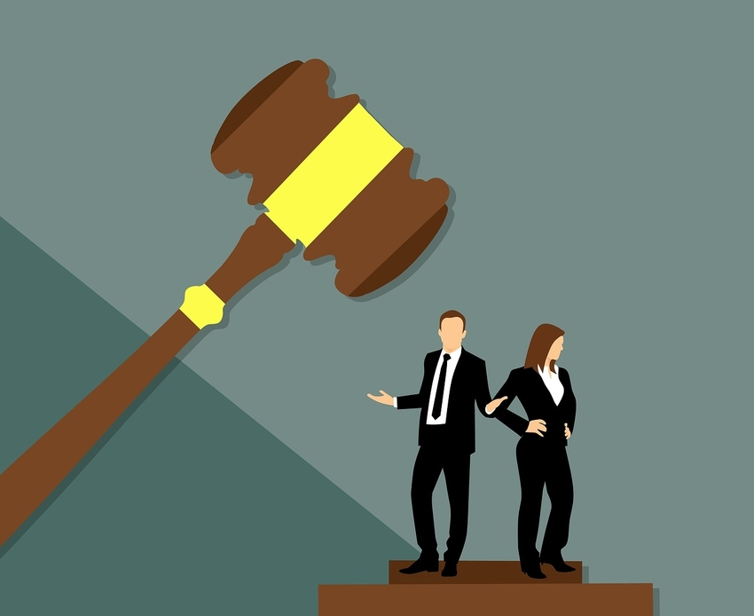 Animated Giant Gavel and Male and Female Lawyer Pretrial