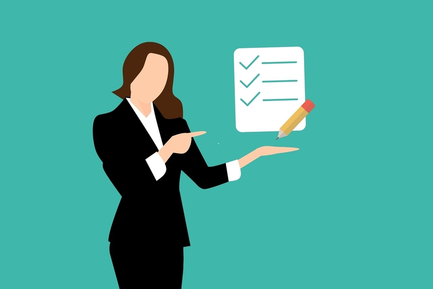 Animation of woman in professional attire beside checklist of bail bondsman criteria