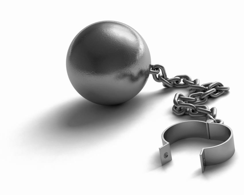 Ball and Chain With No Prisoner Trapped By Excessive Bail